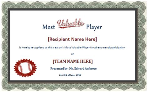 mvp certificate template 28 images of team player certificate template free
