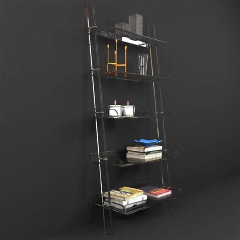 wisteria acrylic leaning bookshelf 3d model max obj 3ds