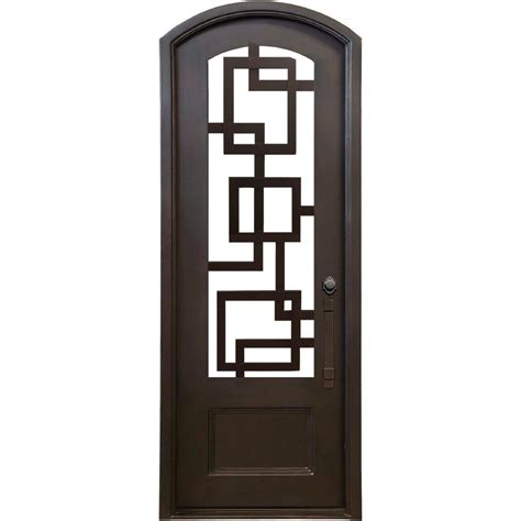 Home Depot Exterior Door Locks Florida Iron Doors 40 In X 97 5 In Eyebrow St Bronze 3 4 Lite Painted Wrought