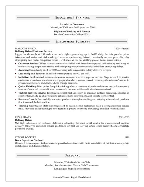 A Sle Of A Resume For A sle performance resume for a major 28 images 28 sle