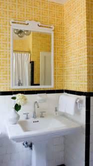 Black And Yellow Bathroom Tile Yellow Geometric Wallpaper Transitional Bathroom