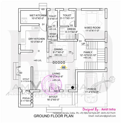 Flat Roof Home With Floor Plan Kerala Home Design And Kerala Home Design Ground Floor