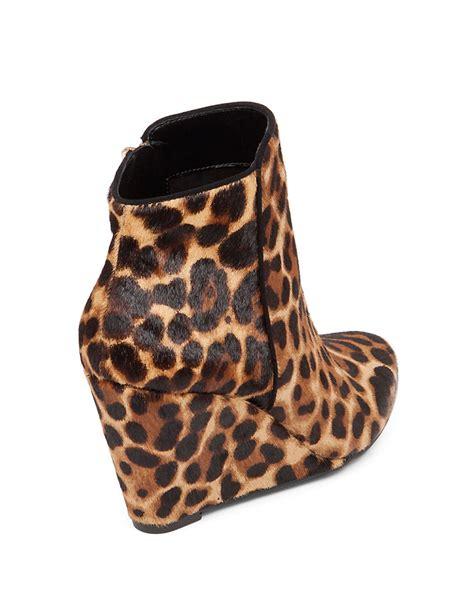 jessica simpson remixx leopard print calf hair ankle boots
