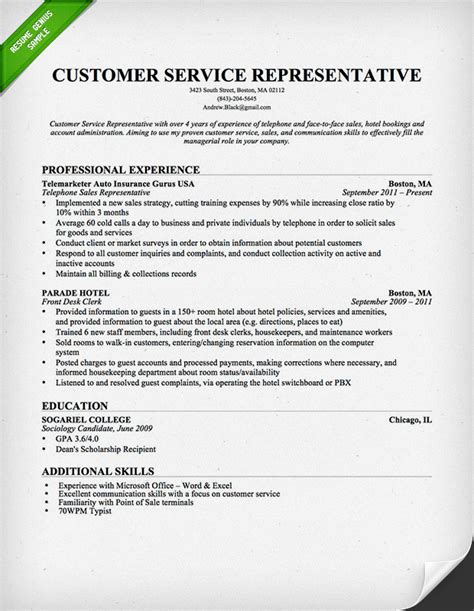 customer service representative resume template for
