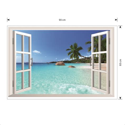 house window stickers 3d seaview fake living house family window background waterproof wall stickers ebay