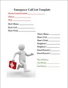 Emergency Call List Template Emergency Phone Numbers List Template Galleryhip Com