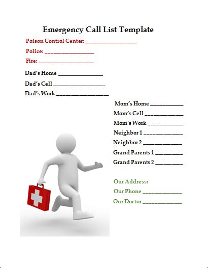 emergency phone list template emergency call list template business