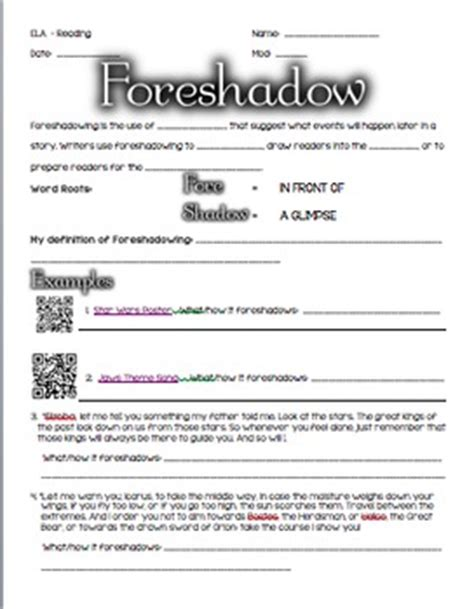 Foreshadowing Worksheets by Foreshadowing Definition And Practice Worksheet By Using