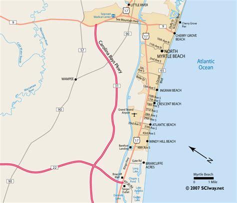 map of south carolina coast myrtle south carolina printable map