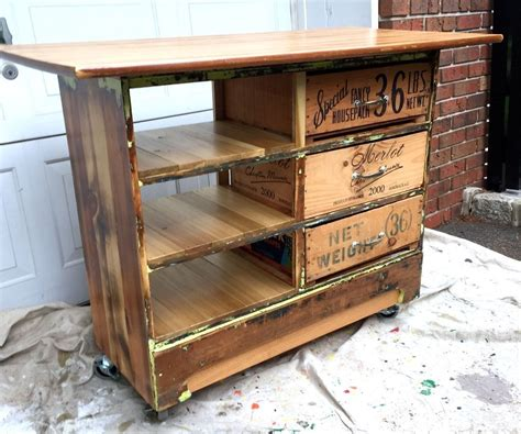 rustic kitchen islands and carts dresser turned into rustic kitchen island cart 1