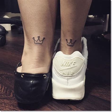 couple tattoo on leg 31 crown tattoo ideas that fit royalty styleoholic