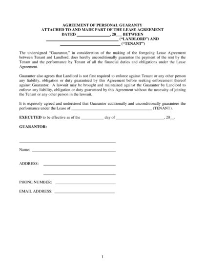 rent guarantor form template personal guarantee form for a lease agreement legalforms org