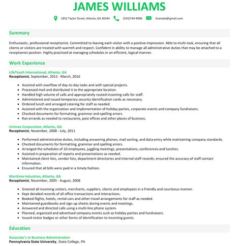 resume template for receptionist receptionist resume sample