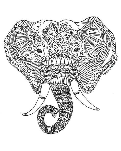 printable zen critters sun elephant coloring page