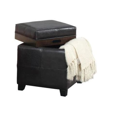 Brown Leather Ottoman With Tray Worldwide Homefurnishings Faux Leather Storage Ottoman In Brown With Reversible Tray Lid 402