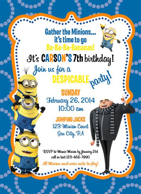 despicable me birthday card template despicable me minion birthday invitation by ckfireboots on