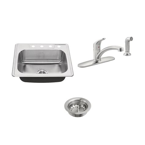 American Standard Kitchen Sink Faucets American Standard Colony All In One Drop In Stainless Steel 25 In 4 Single Bowl Kitchen