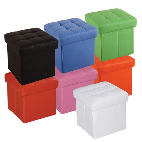 Colored Ottomans Organizer Cube Storage Ottoman Footstools Poufs Pu Leather Multi Colored Ebay