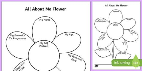 All About Me Flower Writing Template About Me Template
