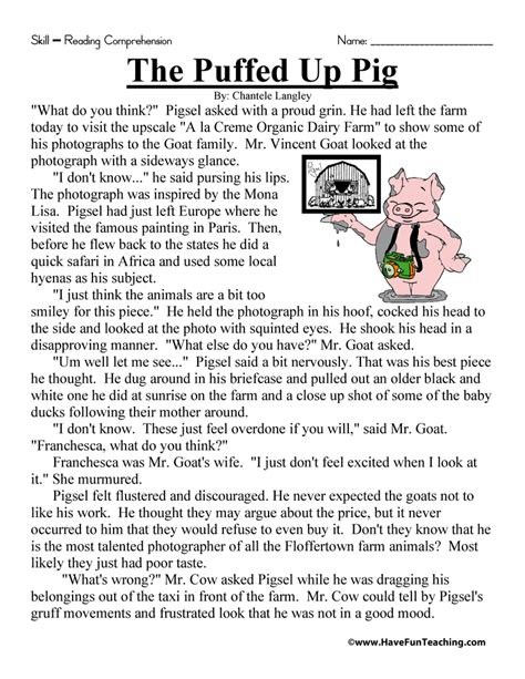 Reading Worksheets 5th Grade by The Puffed Up Pig Reading Comprehension Worksheet