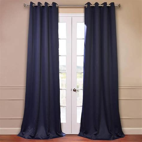 Blackout Navy Curtains Exclusive Fabrics Furnishings Navy Blue Grommet Blackout Curtain 50 In W X 108 In L Pair
