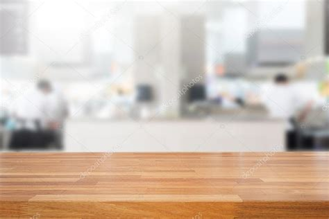 html table background image empty wooden table and blurred kitchen background stock