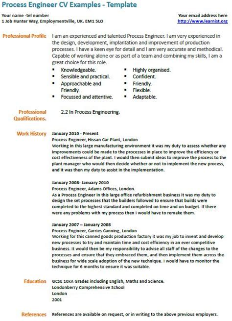 skills cv exle uk process engineer cv exle learnist org