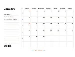 Calendar 2018 Friday Printable 2018 Calendar