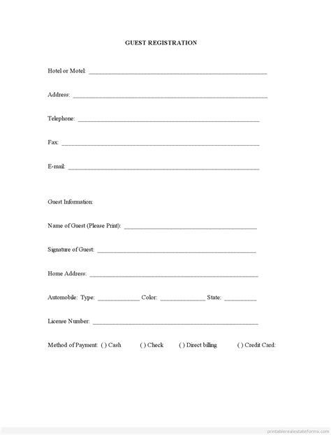 Registration Card Template Word by Sle Printable Guest Registration Form Printable Real