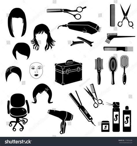 Hairstyles Tools Vector by Hairdressing Accessories Vector Set Retro Hair Salon