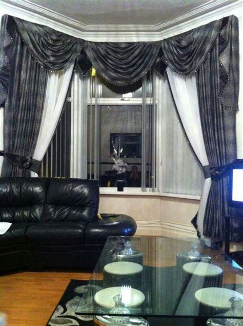 swag curtains for bay windows bay window swags and tail grey and white curtain swag