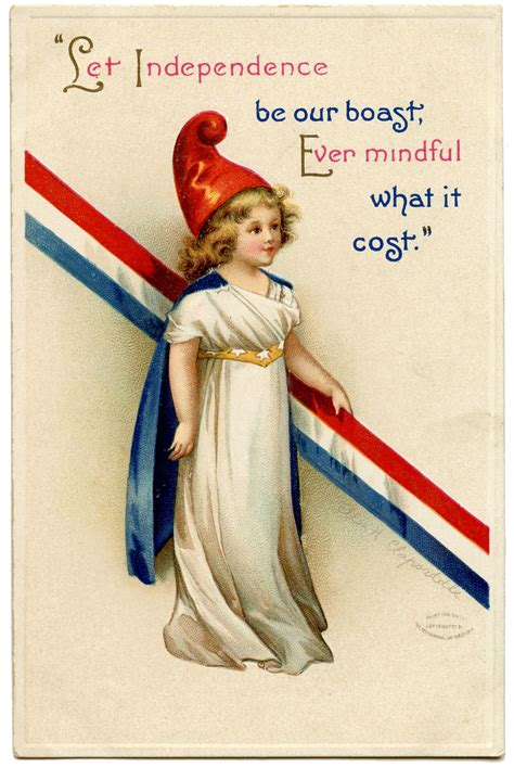 free printable patriotic postcards free vintage patriotic image cute girl the graphics fairy