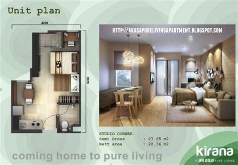 tipe unit apartemen pure living akasa tower kirana  dijual