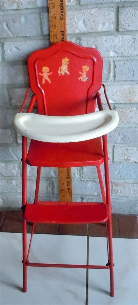 Vintage Metal High Chair by Vintage Amsco Metal Tin Baby Doll High Chair