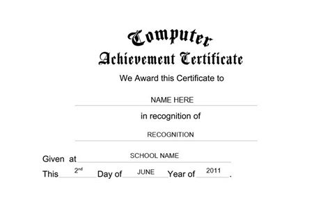 computer certificate templates computer achievement certificate free templates clip