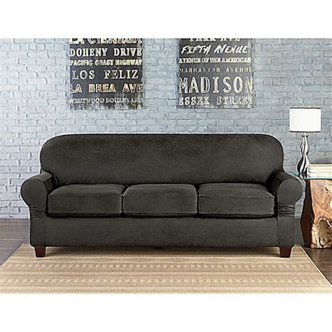 Faux Leather Sofa Cover Buy Sure Fit 174 Vintage Faux Leather Individual Cushion 3 Seat Sofa Slipcover In Grey From Bed