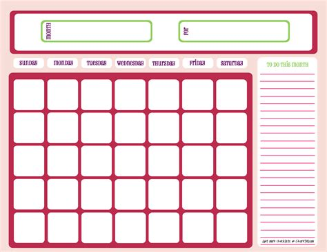 printable planner chart blank month calendar pinks free printable downloads
