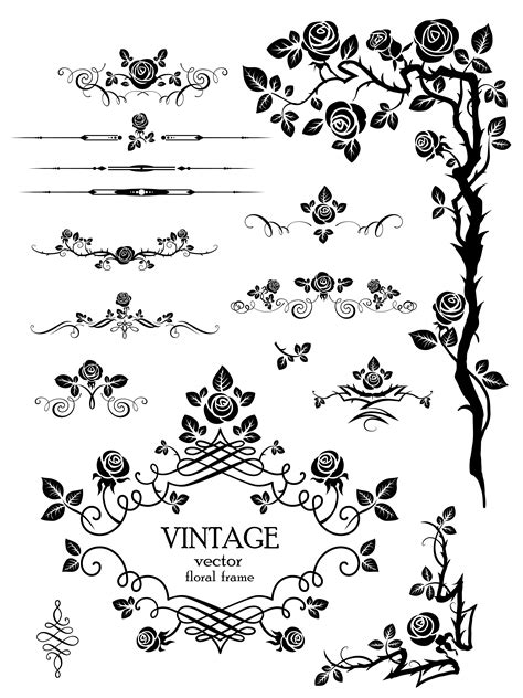 free vector doodle line flowers silhouette lace 03 vector free vector 4vector
