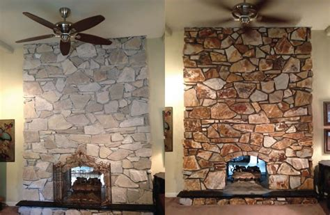 fireplaces stone stone and more stone renovation projects a project before left and after right recoloring