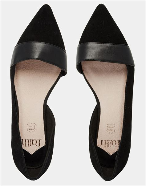 flat black shoe lyst faith ace black pointed flat shoes in black