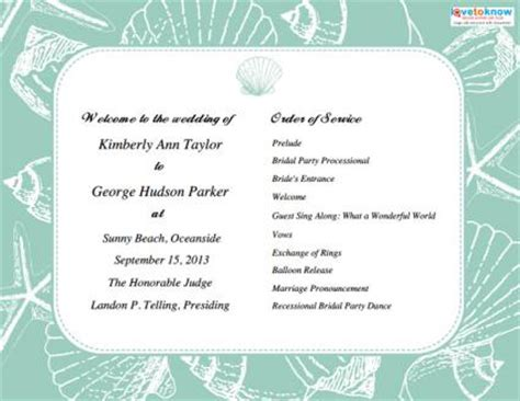 programs for beach weddings lovetoknow