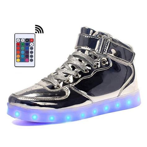 light up shoes with remote led shoes mens silver high top remote