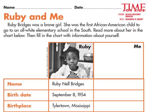 ruby and me books grade 2 students read a chart about ruby bridges and