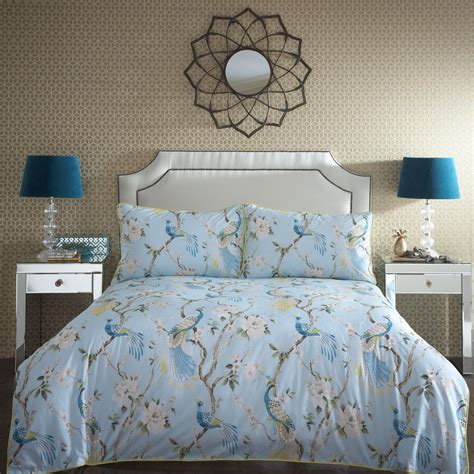 blue patterned bedding uk home collection blue paradise floral bird pattern