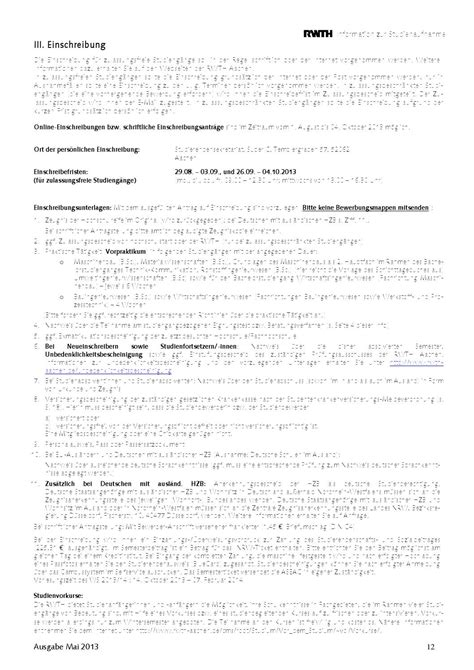 Bewerbung Studium Rwth Aachen Rwth Info Zur Studienaufnahme Ws 13 14 By Rwth Aachen Issuu