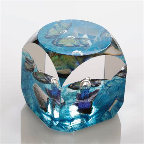 Glass Paper Weight - blue cube by benjamin silver glass paperweight