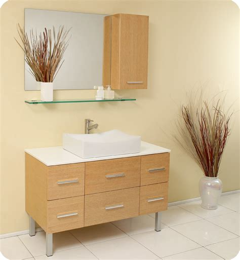 Distante 43 Inch Natural Wood Bathroom Vanity Single Wood Bathroom Vanity