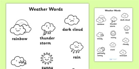 weather pattern words weather words colouring sheet weather colouring keywords