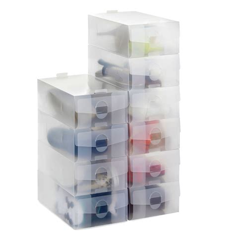 clear plastic shoe storage boxes 20 x vonhaus clear stackable plastic shoe storage