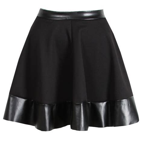 new womens black pu leather trim skater skirt mini